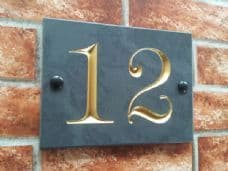 Engraved slate house number sign – 140mm x 100mm; 5.5 inches x 4 inches